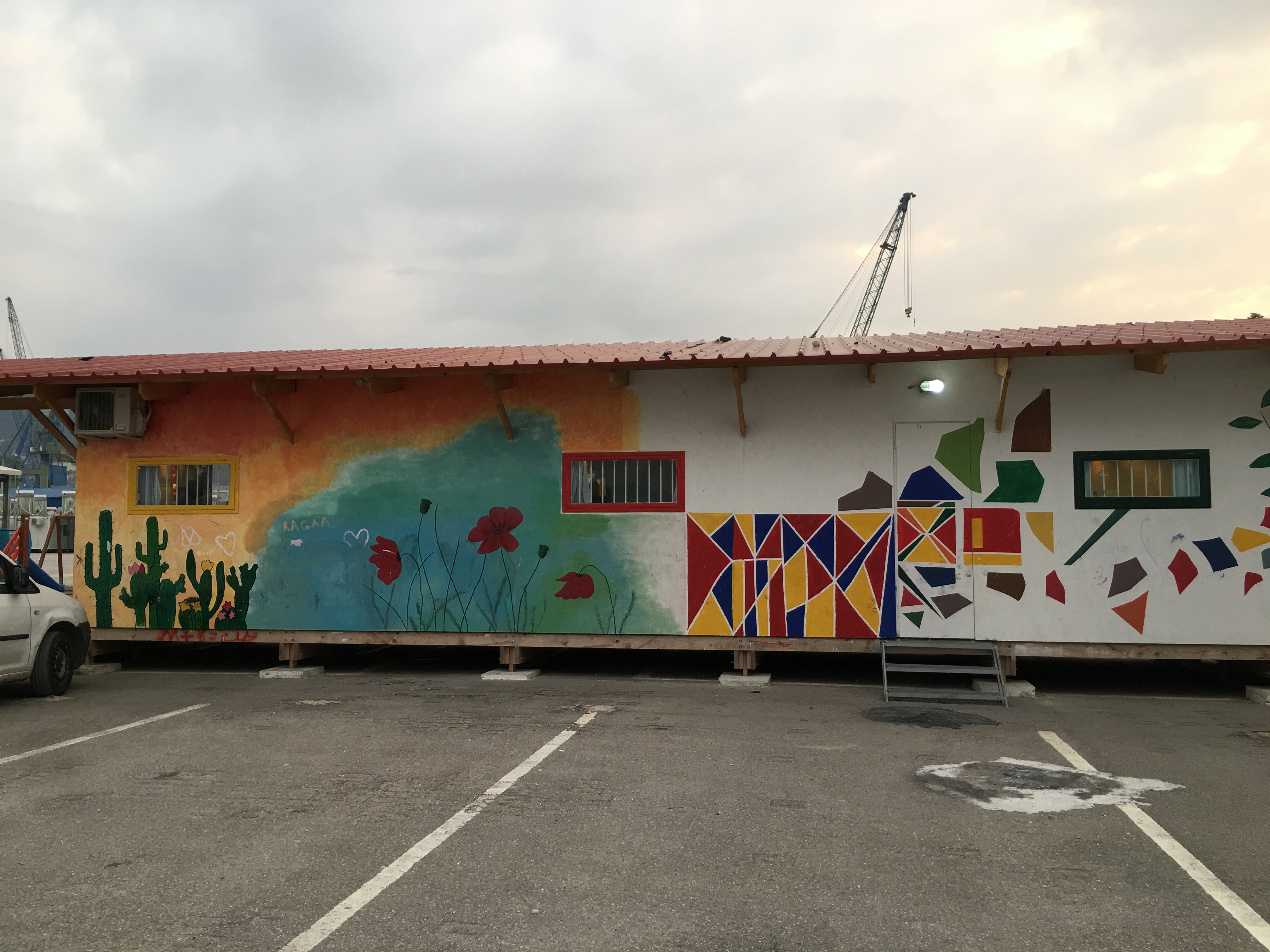 School with colorful outer wall